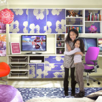 Closet Factory Franchise Home Organization Franchise customers sisters hug in girl's organized office
